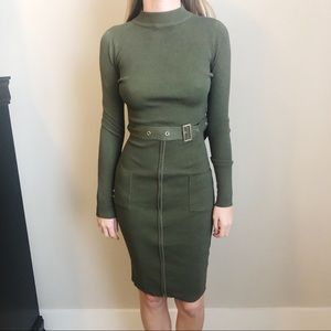 Dresses & Skirts - Hera Collection Green Belted Long Sleeve Dress NWT